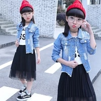 2018 spring and autumn wear baby girl clothes set medium childrens cowboy denim jacketpleated skirt body suit for girls wave
