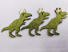 8 pièces/lot 7cm paillettes tissu Appliques dessin animé dinosaure rembourré patchs pour mur vêtements autocollants bricolage pinces à cheveux décoration