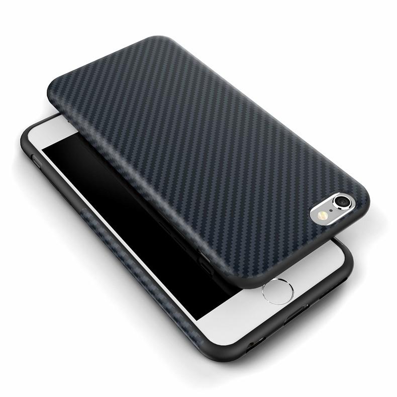 Najnowszy środowiska carbon fiber case dla iphone 6 6s plus miękkie antypoślizgowa anti-puk pokrywy dla iphone 7/plus skóra skóra torba 15