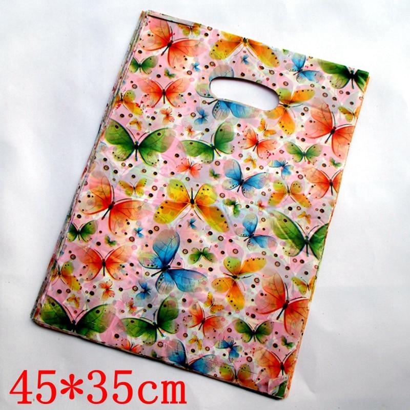 "100 Multicolorido pçs/lote ""Butterfly"" Plastic Boutique Prática Bolsas Compras Gift Package Bag 45*35cm154513"