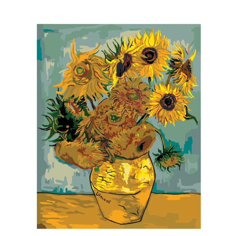 Girassol van gogh pintura digital, flores diy pintura digital com números moderna de parede, arte, tela, presente exclusivo, decoração de casa, 40x50cm
