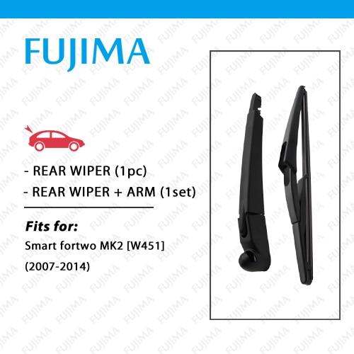 Limpiaparabrisas trasero y brazo para Smart Fortwo MK2 (2007-2014) W451 ventana trasera limpiaparabrisas escobilla trasera