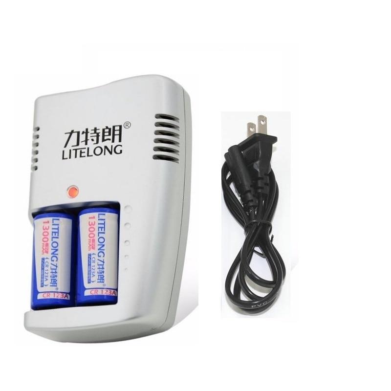 1300mAh CR123A LiFePo4 قابلة للشحن البطارية + 2 فتحات ذكي الذكية شاحن ل 3V CR 123A البطارية