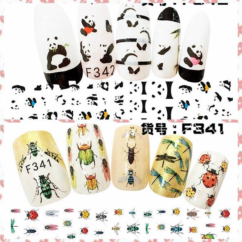 1 hoja de libélula abeja, Mariquita cigarras de oso Panda encantador arte adhesivo para uña pegatinas adhesivos pegatinas DIY F341-342 #
