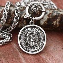 Catholic Necklace Archangel Saint Michael Protect Me Mans Medal Patron Jewelry Dropship
