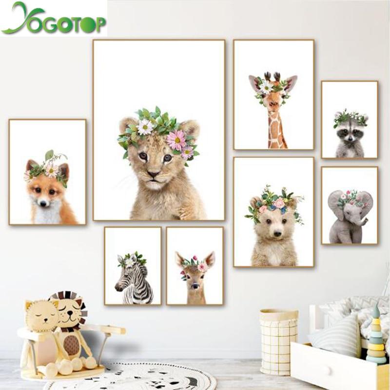YOGOTOP Baby Elephant Deer Zebra Fox Raccoon Wall Art Nordic Diy Diamond Painting 5D Full Mosaic Embroidery Kids Decor YY714