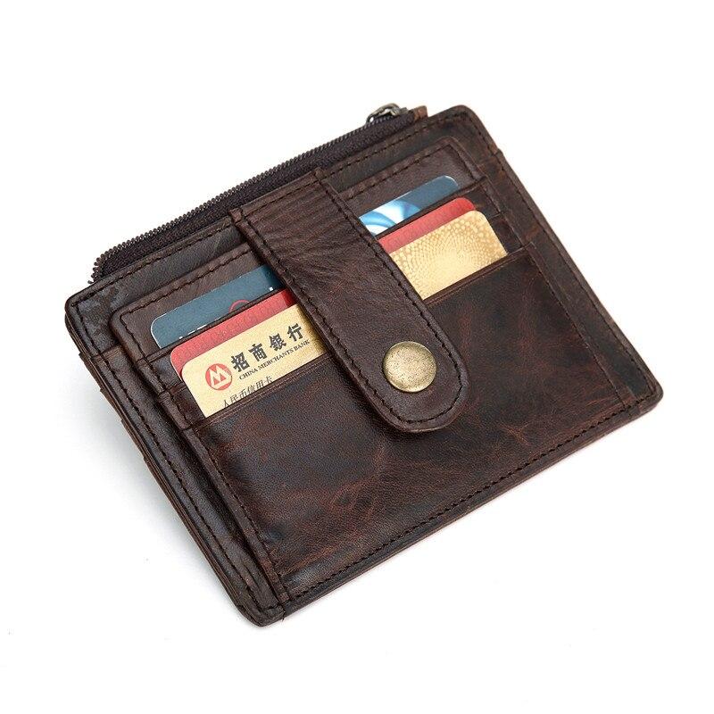 Nesitu Vintage café de piel auténtica de cuero Simple Mini hombres billeteras bolsillo frontal hombre titular de la tarjeta de crédito monedero # M030
