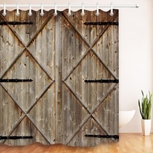 Rideau de douche artistique Retro 72 '  Porte de grange rustique, rideaux de salle de bains en bois Vintage, tissu pour baignoire, décor artistique à la maison