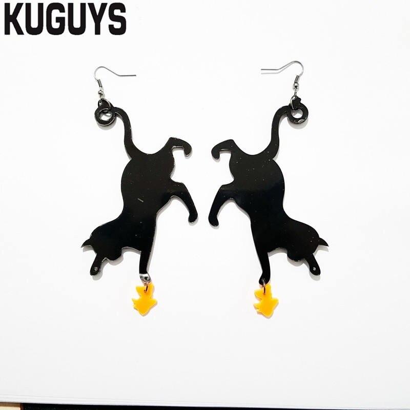 Pendientes KUGUYS de moda con diseño de gato negro y pez dorado para mujer, Pendientes de gota acrílicos de moda, Pendientes Brincos