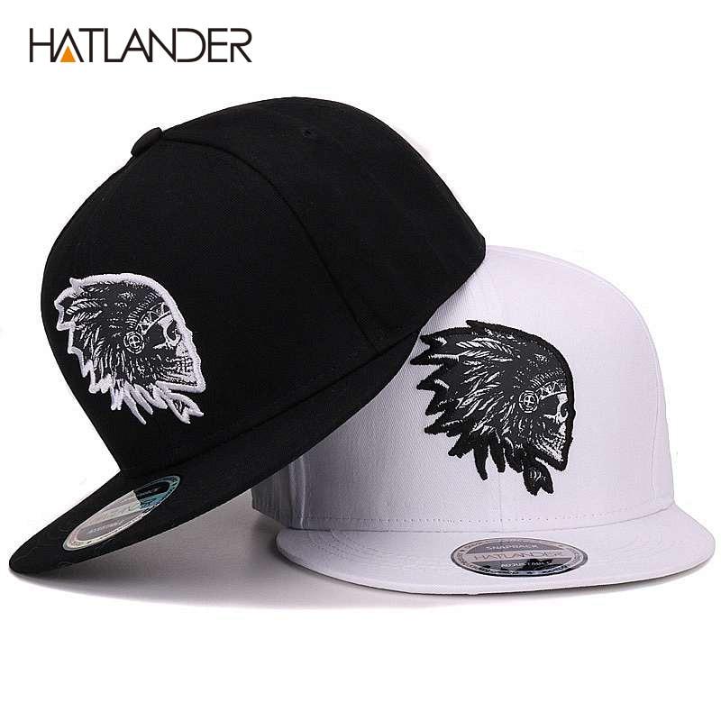 AliExpress - [HATLANDER]Embroidery Skull baseball caps hats hip hop snapbacks flat brim bones gorra sports snapback caps for men women unisex