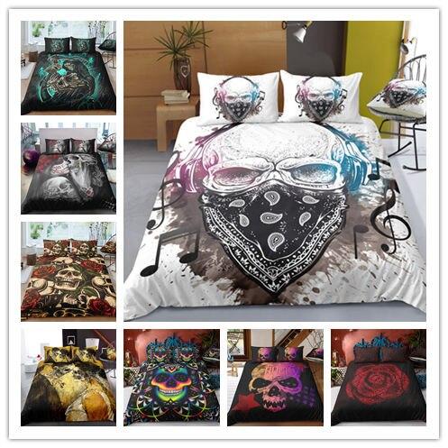 O envio da gota 3d crânio preto jogo de cama impressão capa edredão conjunto roupas com fronha cama têxteis para casa