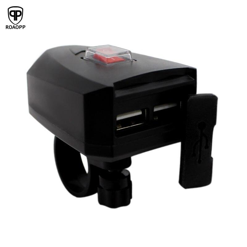 Rooopp USB cargador de motocicleta equipo de Moto doble USB Cambio rápido 5V adaptador de fuente de alimentación impermeable para iphone Samsung Huawei