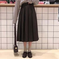 3 colors 2021 spring autumn female long skirts women high waist long pleated skirt solid color a line skirt womens x150