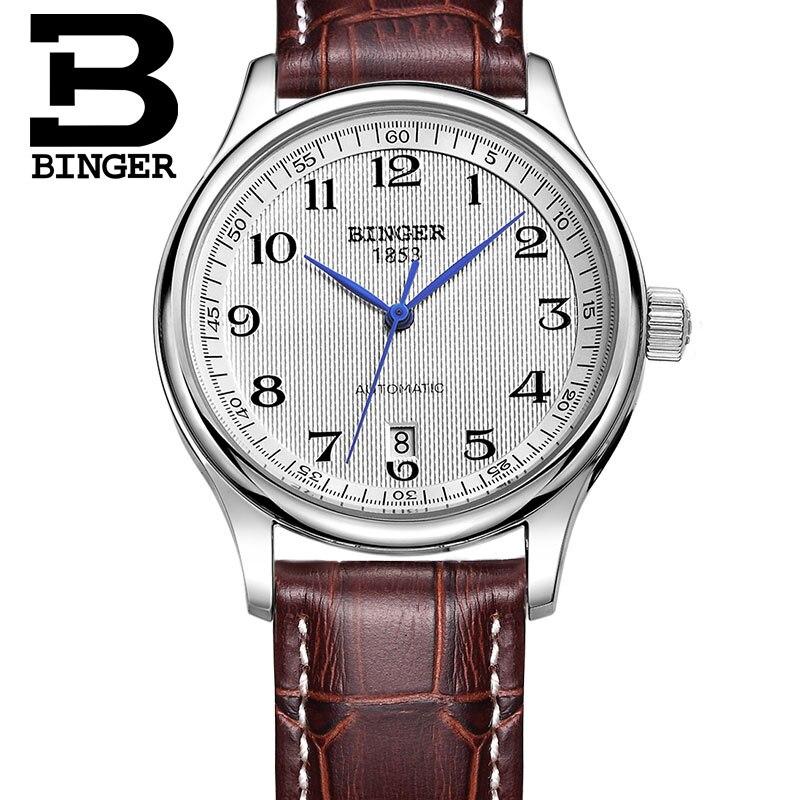 BINGER-ساعة فاخرة أصلية من الياقوت للرجال ، ساعة ميكانيكية أوتوماتيكية ، ذاتية الملء ، حزام جلدي مقاوم للماء ، طاولة عمل