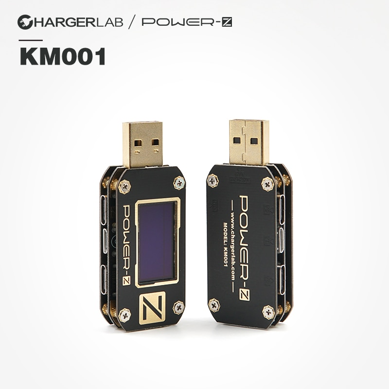 ChargerLAB POWER-Z USB PD اختبار الجهد والتيار تموج مزدوجة نوع-C أداة KM001