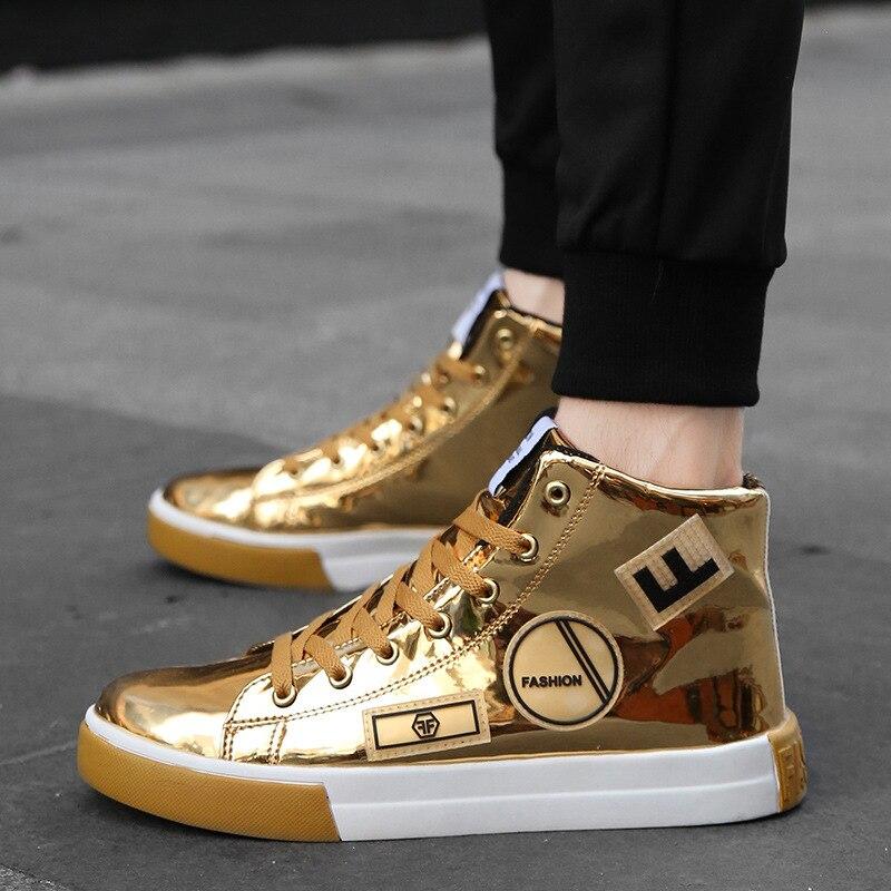 Fashion-أحذية رياضية جلدية براءات الاختراع للرجال ، أحذية هيب هوب ، أحذية ذات علامة تجارية مصممة ، بإضاءة لامعة ، لون ذهبي وفضي ، مقاس 46