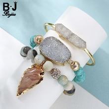 BOJIU 3 pièces/ensemble bijoux pour femmes Laddys Bracelet perlé feuilles pendentif avec pierre naturelle cadeau pour femme BCSET36