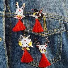 Badge Vintage pampilles broche   Badge japon Ninja lapin de feu serpent de renard Kendo cerf icône créative veste en Denim sac à dos cadeau damis