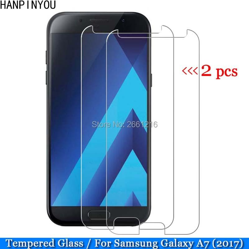 "2 unids/lote A7 2017 de vidrio templado 9 H 2.5D Premium cine Protector de pantalla para Samsung Galaxy (2017) a720 A7200 A720F 5,7"""