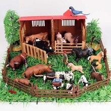 Oenux ferme maison Simulation volaille animaux ensemble cheval vache poule Figurines ferme Zoo personnel Figurines daction jouet pour enfants cadeau de noël