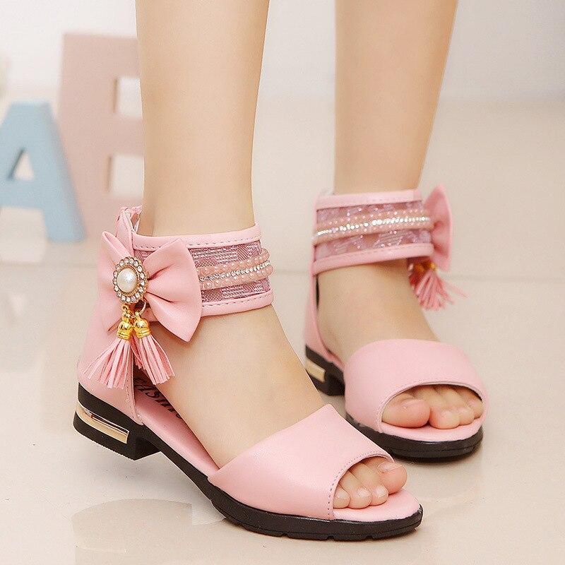 Sandália infantil laço borla princesa, sapato de verão para meninas, crianças grandes, 4 5 6 7 8, 2019 9 10 11 12 ano ol