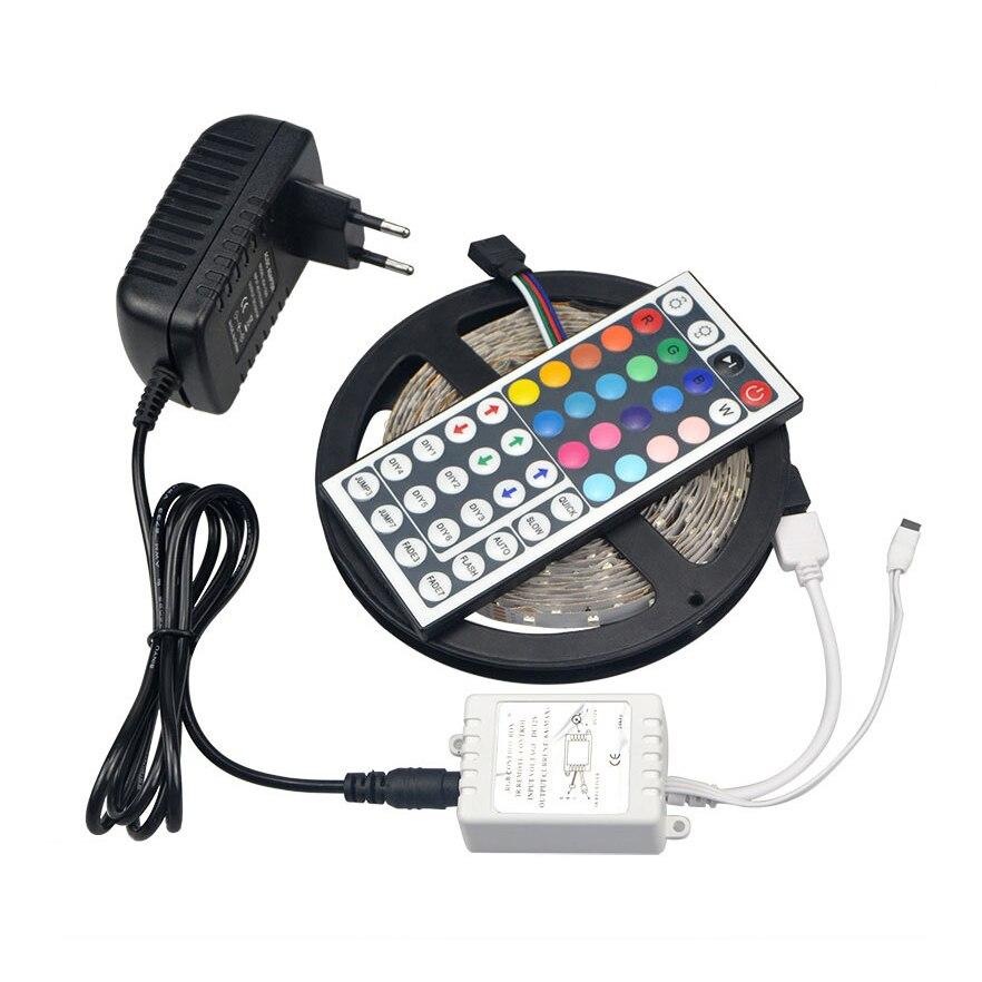 Tira de luces LED IP20 SMD 5050 5M RGB no impermeable 300 LEDs/mando a distancia IR de 44 teclas/transformadores para adaptador de corriente DC12V 3A