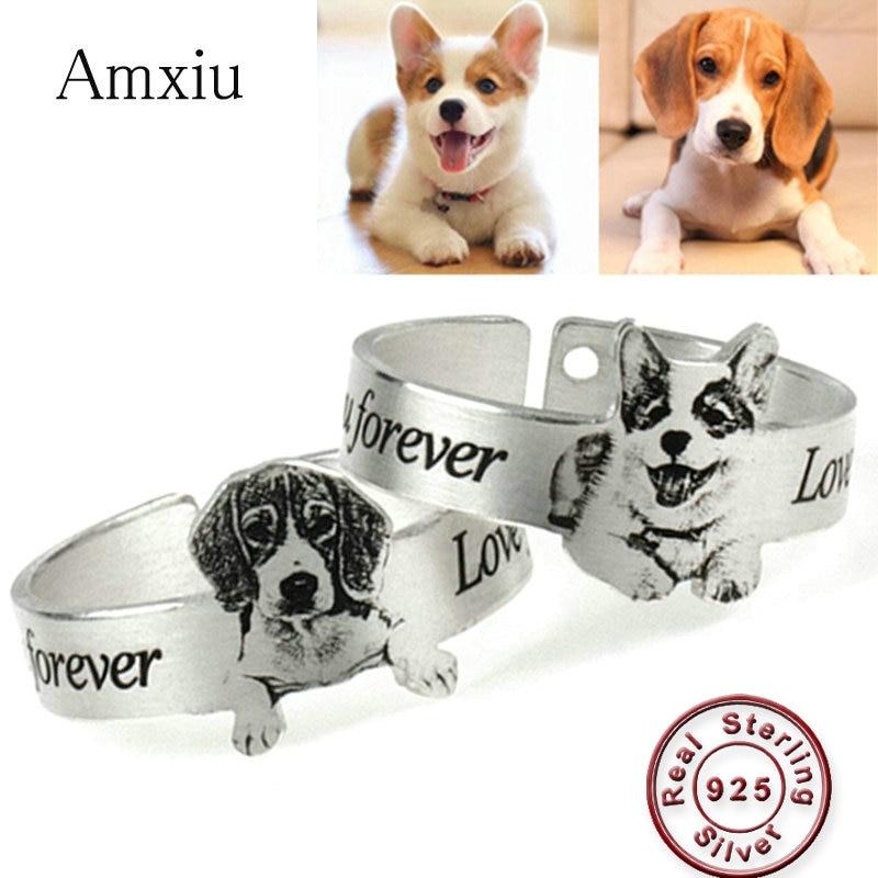 Amxiu personalizado família imagem anel 925 prata esterlina aberto anel personalizado gato do animal de estimação cão foto anéis para presentes das mulheres dos homens