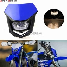 Enduro Cross Halo Headlight Blue Off Road Dual Sports Head Light Headlamp Fairing For XR125 XT350 WR250 WR426 YZ450 DRZ400SM