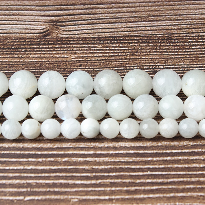 LanLi Fashion natural Jewelry moonstone Loose Beads 6 8 10mm DIY bracelet necklace ear stud Accessories