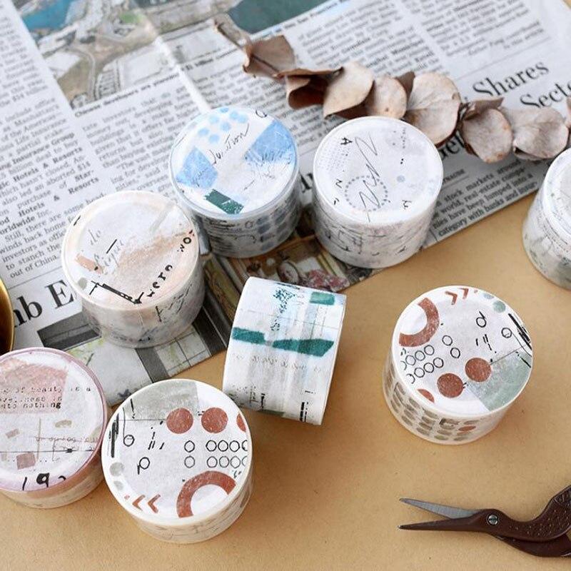 1 Uds lindo 30mm ancho retro Collage Cinta adhesiva Washi cinta DIY planificador álbum de recortes diario pegatina artículos de papelería con etiquetas cinta adhesiva