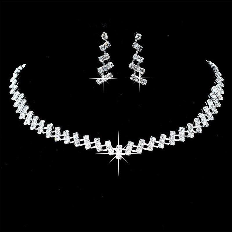 Joyería de cristal para bodas, regalos nupciales, Gargantilla, collar, pendientes, conjunto de joyas de boda, novias, superventas, conjuntos de joyas de boda
