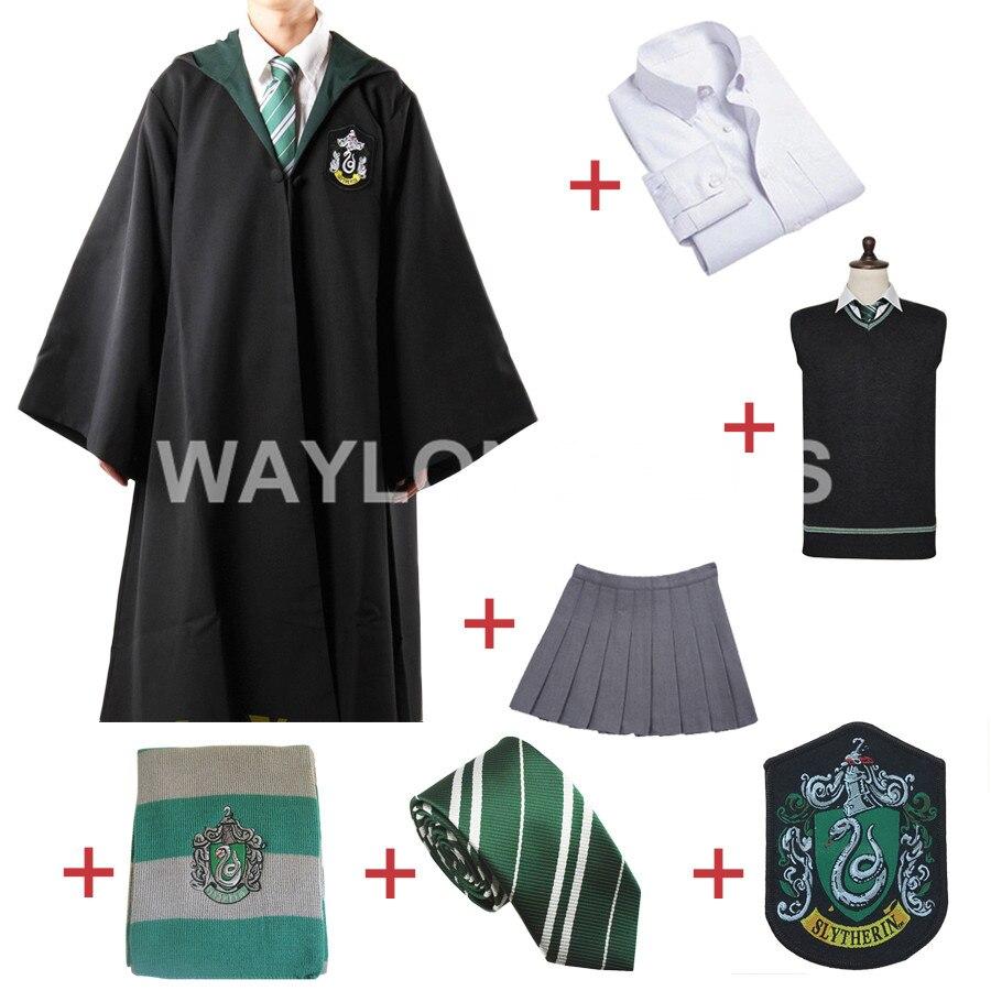 Бесплатная доставка Slytherin Косплей халат Плащ пуловер свитер рубашка юбка с галстуком значок шарф для Харрис костюм