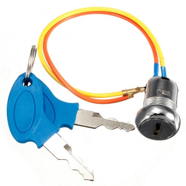 2 draht Schlüssel Zündung Schalter sperren Schlüssel Lock Für Elektrische Roller ATV Moped Kart Metall Zündschlüssel Schloss