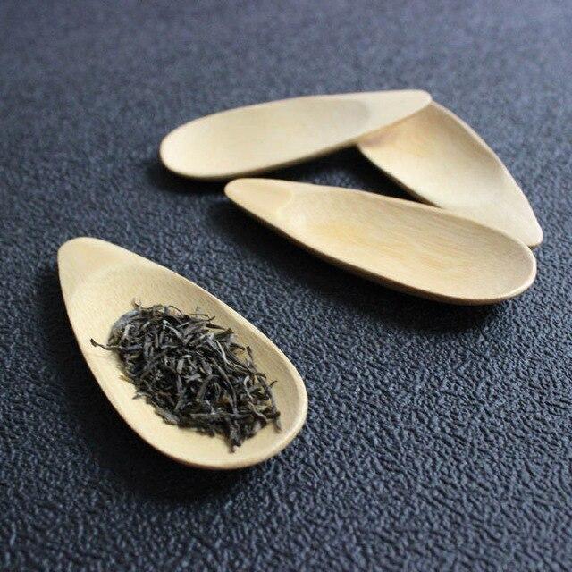Nette Melone samen form Tropfen-shaped Handmade Mini Bambus Tee Kugeln Kung Fu Tee Löffel Schwarz Grün Tee Schaufel geschenk Für Freunde 1PC