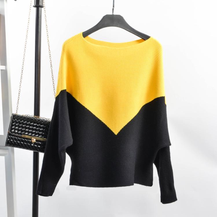 Carol Diaries, suéter de manga murciélago para mujer, Blusa 2018 con cuello oblicuo, Blusa tejida para mujer, suéter, camisa, Blusa de Cachemira