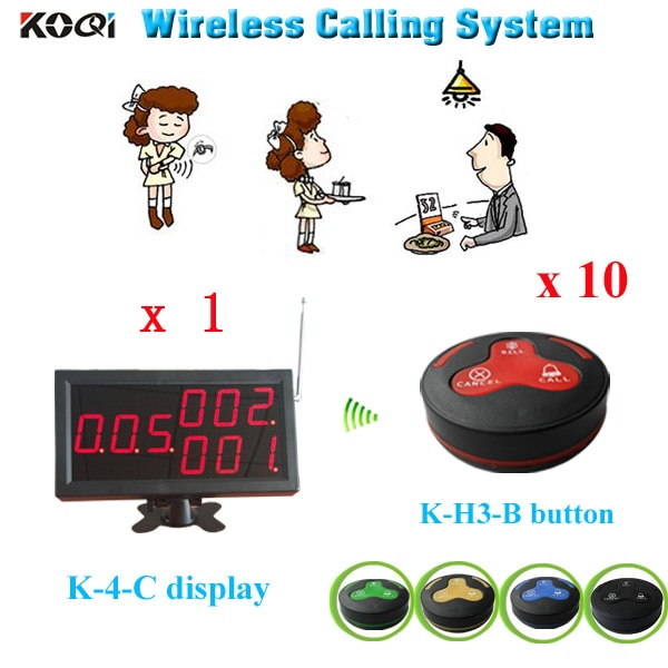 transmitter and receiver 1 K-4-C display + 10 K-H3 waterproof button service bell wireless guest call bell system