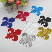 Appliques De fleurs De noël en 3D   Appliqué en fer sur patchs, broderies dorées De fleurs, 10-8.5cm/3.5x3cm