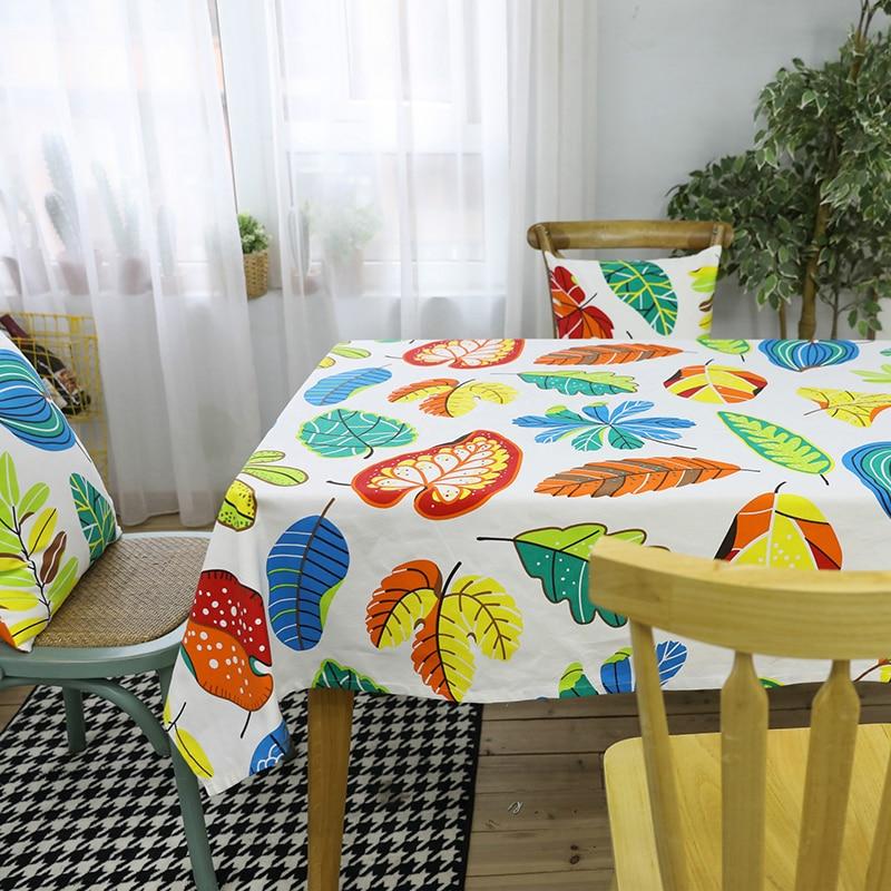 Hojas coloridas impresas Mesa De comedor tela De algodón Rectangular a prueba...