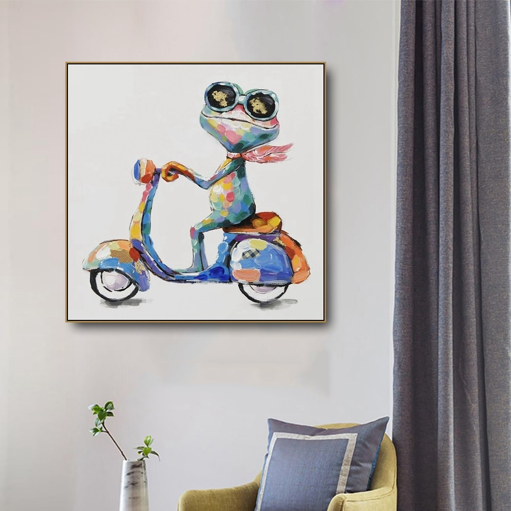 Acuarela Rana pintura en lona de animales cuadro de Arte de pared para sala de estar dormitorio arte decoración de carteles imagen de pared de impresión moderna