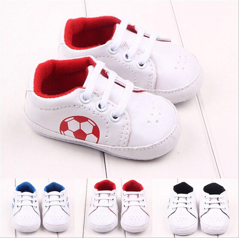 Moda legal impressão futebol sapatos de bebê calçados antiderrapante crianças meninos meninas primeiros caminhantes