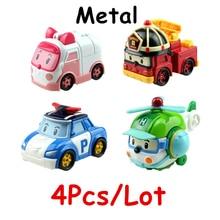 4Pcs/Lot Korea kids Toys Robocar Poli Amber  Roy Haley Metal Model Toy Car Anime Action Figures Car Toys For Children Gifts