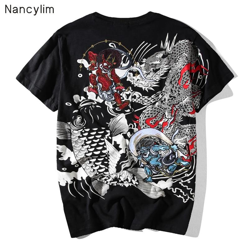 Prajna japonês Retro Bordado Tatuagem de Manga Curta T-shirt Homem Verão Camisas de Marca T dos homens Tops Soltos Camisas de Todos Os Jogos Masculinos