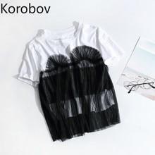 Korobov Summer New Kawaii O-Neck Women T Shirt Lace Patchwork Sweet T-Shirt Short Sleeve Korean Casual T-Shirts 77318