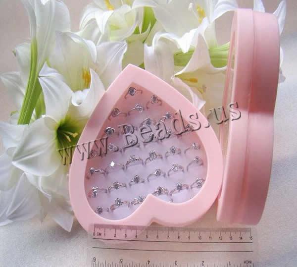 Pink Heart Design Organizer Showcase Jewelry Display Rings Holder Box New Ring Storage Ear Pin Display Box