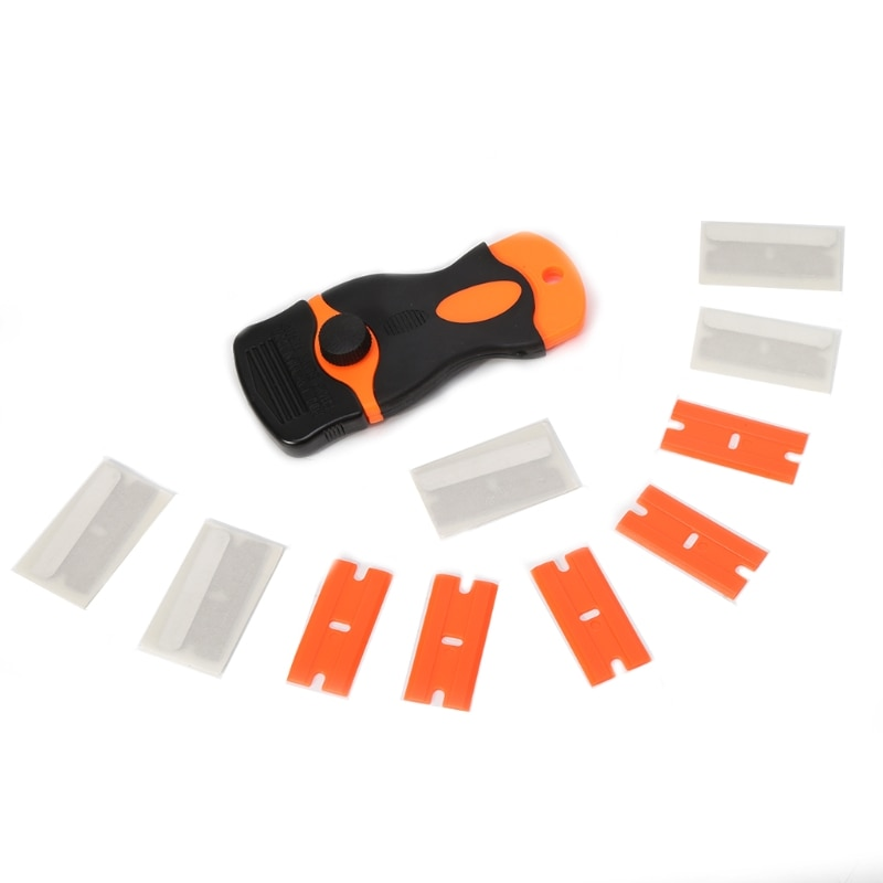 Etiqueta do carro removedor borda lâmina raspador de lâmina conjunto janela plástico espátula ferramentas