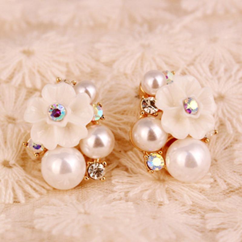Женские серьги-пусеты, большие Изящные серьги с искусственным жемчугом и белым цветком, модный пирсинг, украшения
