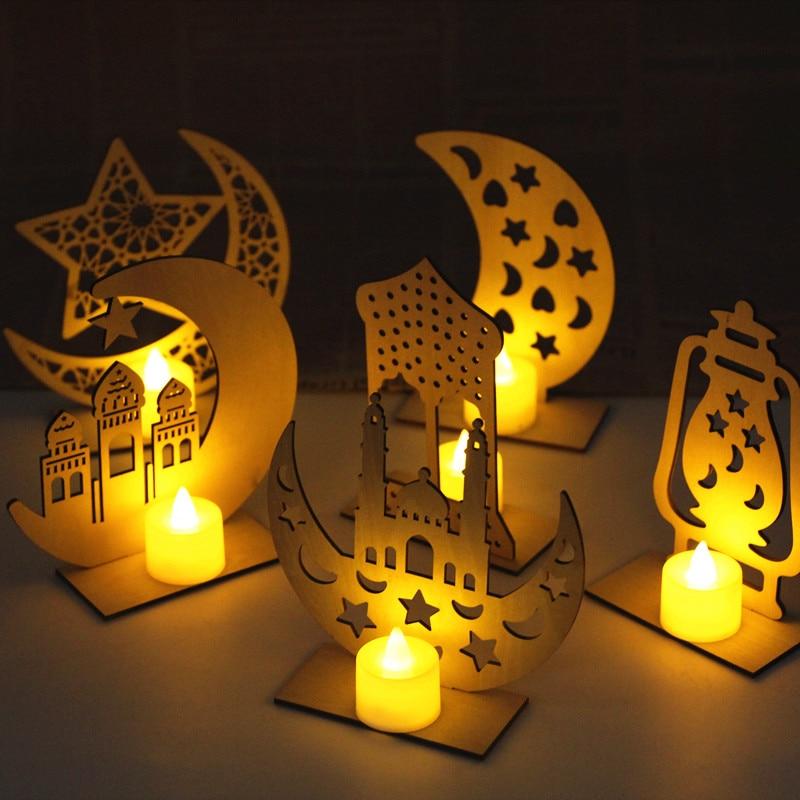 Decoraciones de madera de Ramadán, Eid, Mubarak, luces led de noche, estrella de la luna en casa, luces tipo vela de LED, decoración colgante musulmana, Islam