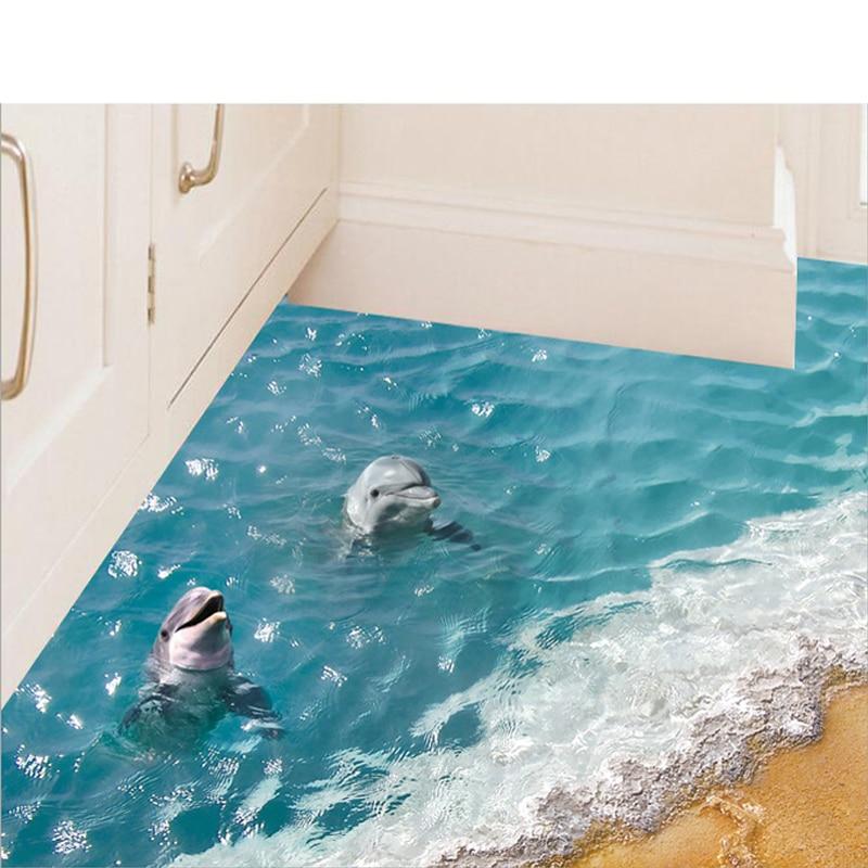 Gran oferta, pegatina bonita para pared de mar, pegatinas 3D para suelo de delfines, pegatina impermeable para baño, papel tapiz ecológico para niños SD120