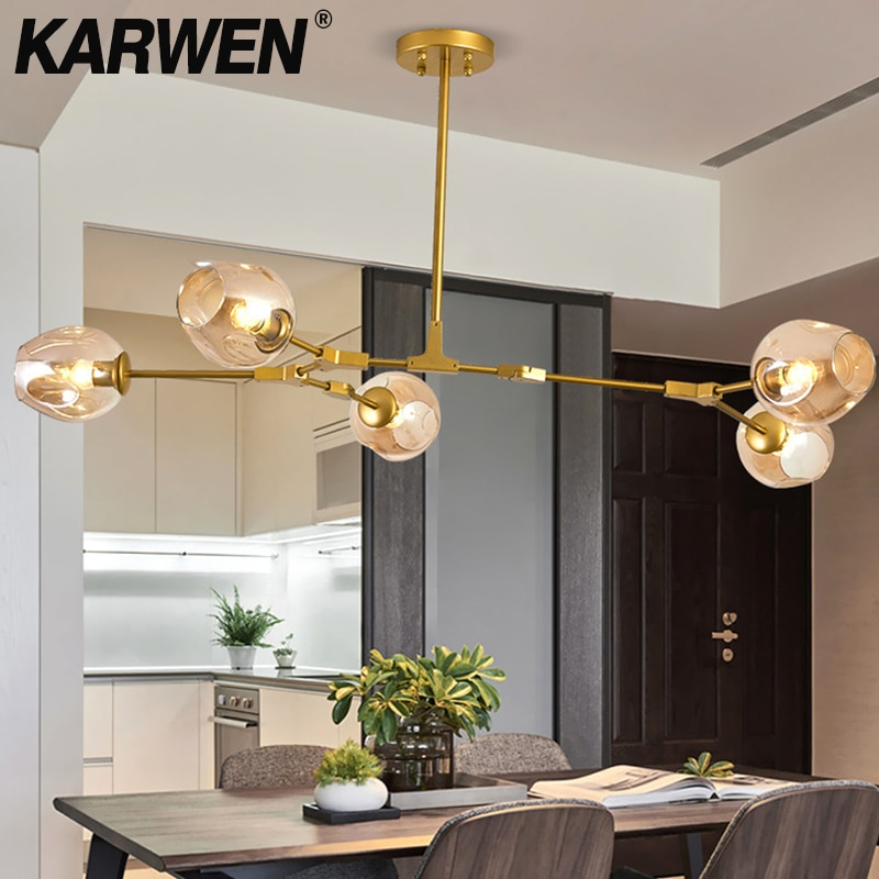 KARWEN 5 اللون الزجاج الشمال الحديثة قلادة أضواء الجزيئية hanglamp تركيبات لغرفة الطعام المطبخ غرفة المعيشة