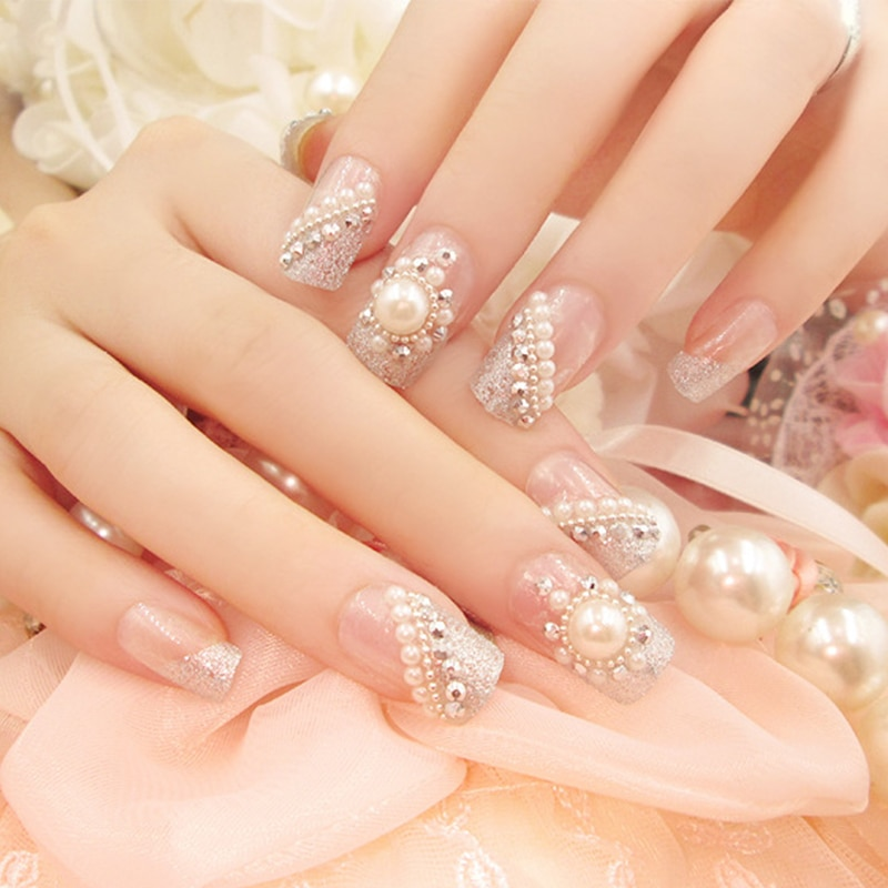 24 unids/caja 3D acabado uñas falsas arte perla flash taladro uñas artificiales hermosas uñas postizas manicura
